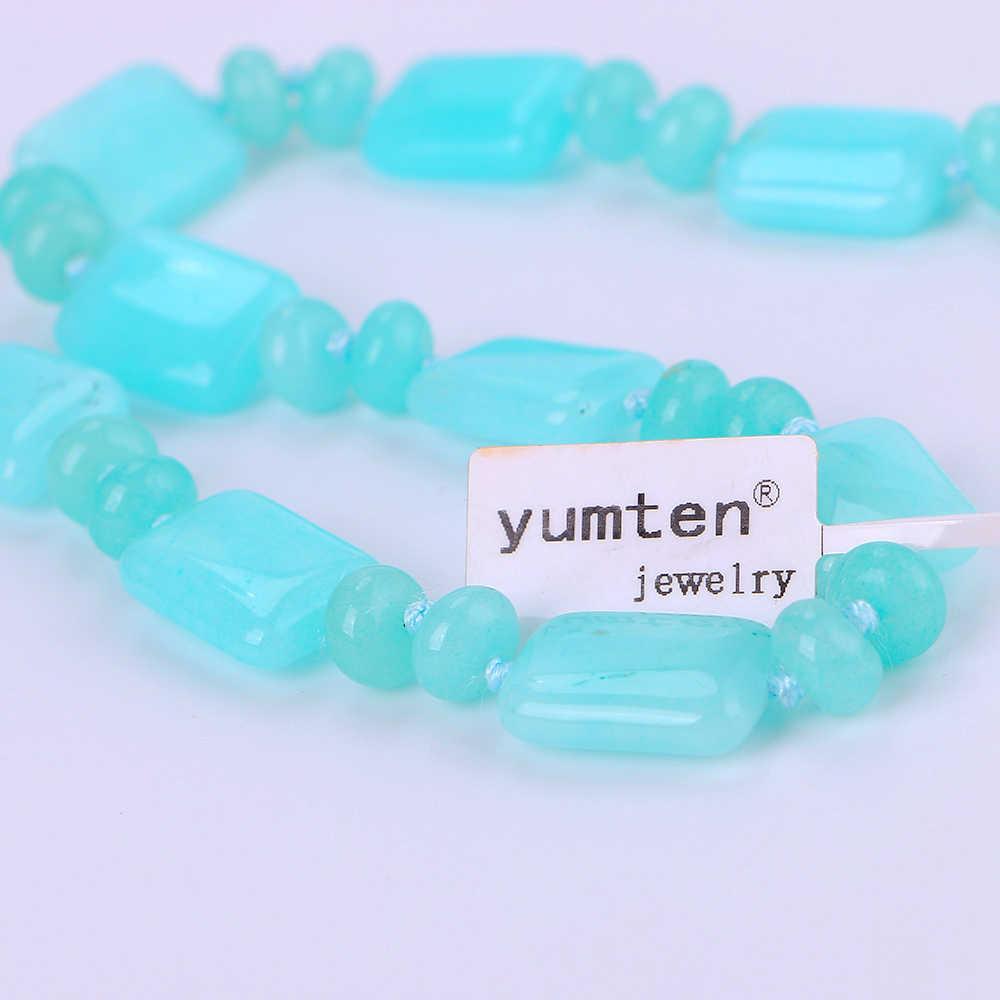 Yumten Aquamarine Colar Poder Quadrado Pedra Natural Cristal Mulheres Homens Jóias Jóia da Pérola do Ouro Kolye Jogo Trono Bisuteria Anjo