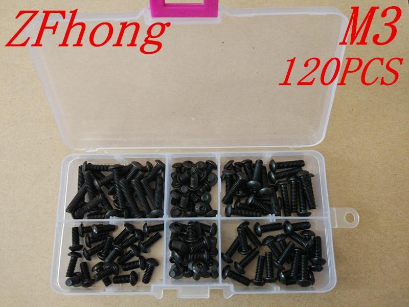120PCS ISO7380 Grade10.9 M3*5/6/8/10/12/16 Black Allen Button Head Hex Socket Screw kits, цена и фото