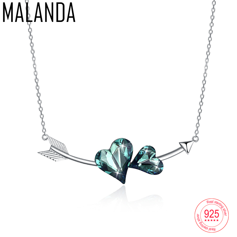 MALANDA Crystal From Swarovski Arrow Double Heart Pendant Necklace For Women Fashion Sterling Silver Necklaces Fashion Jewelry a suit of chic heart arrow necklaces for lover