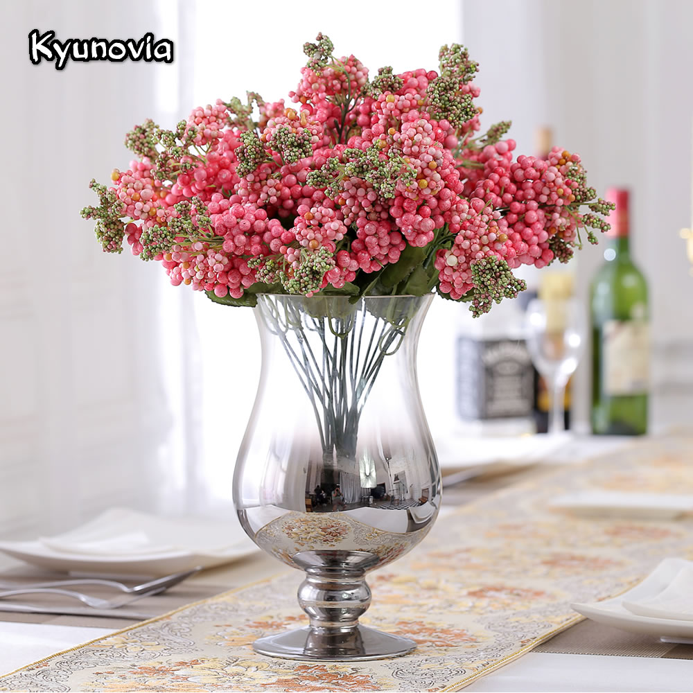 1pcs wedding delicate home decor bouquet artificial hydrangea kyunovia artificial berry and leaf spray foam berries bouquet filler flowers for wedding diy centerpieces home izmirmasajfo