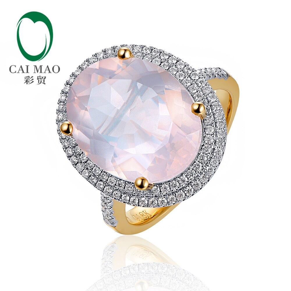 Caimao 8.51ct Natural 12x15mm Oval Pink Quartz Round Cut Diamond 14k Multi-tone Gold Engagement Ring caimao 0 18ct natural round f vs diamond 14k white gold engagement wedding ring