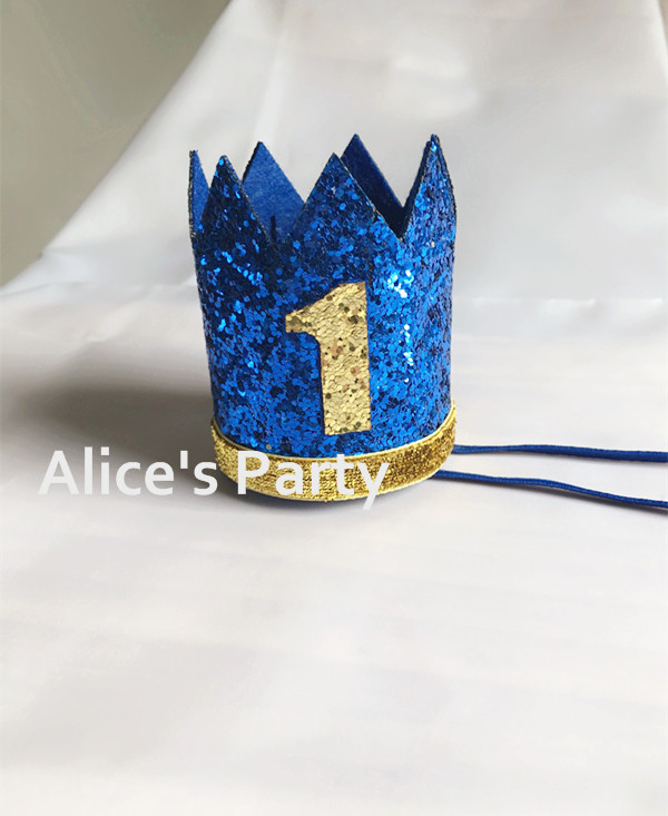 First Birthday Crown Glitter Blue One Crown Cake Smash Props Photo Props