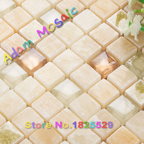 hojas de baldosas de vidrio de pared de la chimenea de piedra natural de mrmol beige