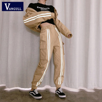 Vangull Two Piece Set Women Crop Top and Cargo Pants 2 Piece Set Bomber Jacket Coat Joggers Womens Suit Shiny Side Stripe Sets