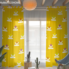 Yellow Tulle Curtains for Bedroom Living Room Kids Decoration 3D Print Window Curtain Short & Long