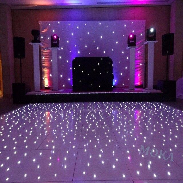 12*10 Feet Starlit LED Dance Floor 2*2ft dance floor panel White RGB Color Mixing led star dancing wedding floor remote Control