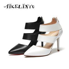 AIKELINYU Hot Sell Women High Heel Sandals Sharp End Stiletto Gladiator Sandal Shoes Party Dress Shoe Woman Hollowed