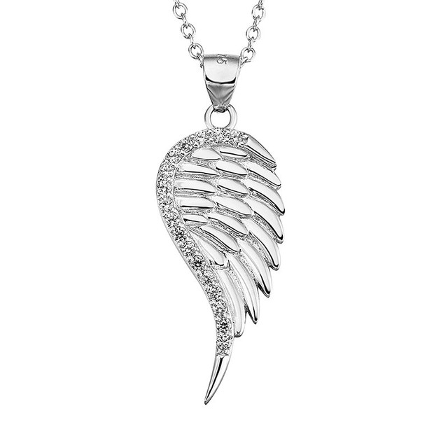 Pure faith 100%guaranteed s925 sterling silver mosaic zircon angel wing pendant&necklaces cute delicate jewelry for people N0001