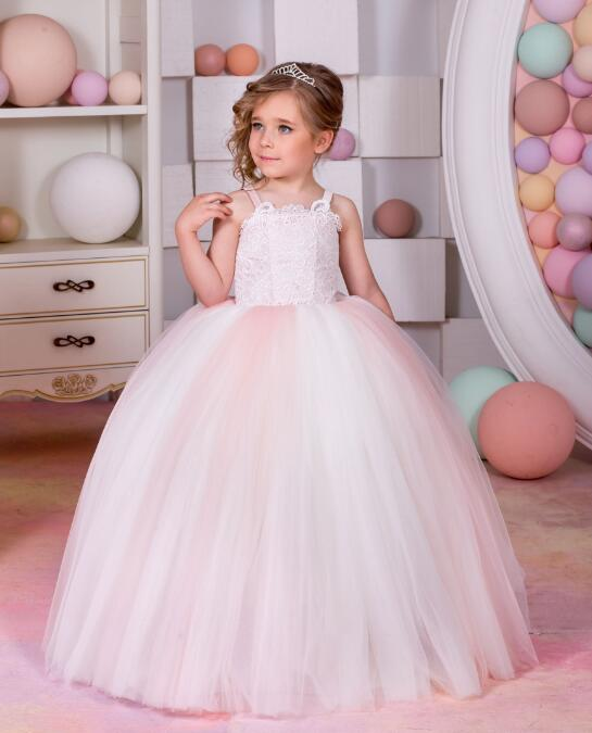 Light Pink Fluffy Flower Girl Dress for Wedding Lace Tulle Lace Up back Girls Communion Gown Birthday Dress ершов п п peter jerschow das hoeckerpferd конек горбунок на немецком языке