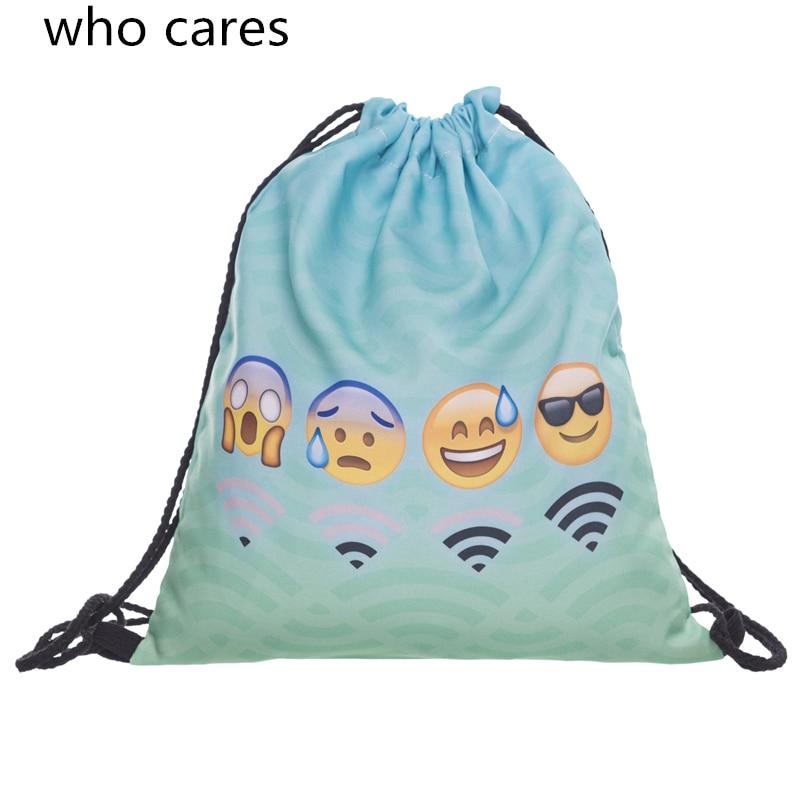 Who Cares 3D Printing Blue Wifi Emoji Backpack Mochila Feminina Women daily Fashion Casual Drawstring Bag Girl emoji printing mochila feminina gym women bags feminina travel man casual sport drawstring bag unisex simple rope backpack zohra
