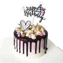 New Hot Shining Happy Birthday Party Supplies Decoration Cake Topper Paper Decor Drawing Arts Ballon Cupcake Decors Flags