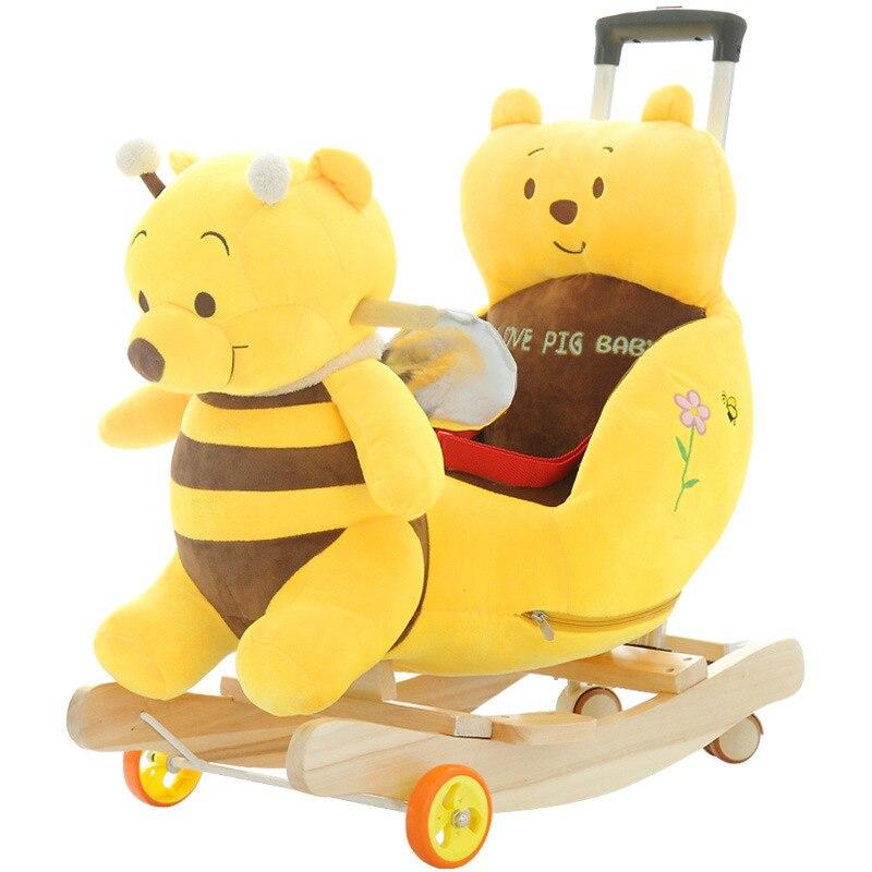 2 en 1 chaise de cheval à bascule multifonctionnelle pour enfants avec musique bébé poussette Ride on Toys Push Chair 360 roue universelle