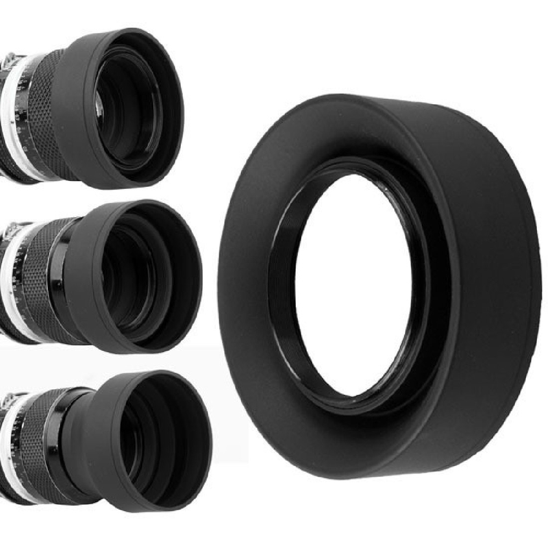 3 In1 Collapsible Rubber Foldable Lens Hood Stages 77/72/67/62/58/55/52/49mm DSIR for Nikon Canon Cameras