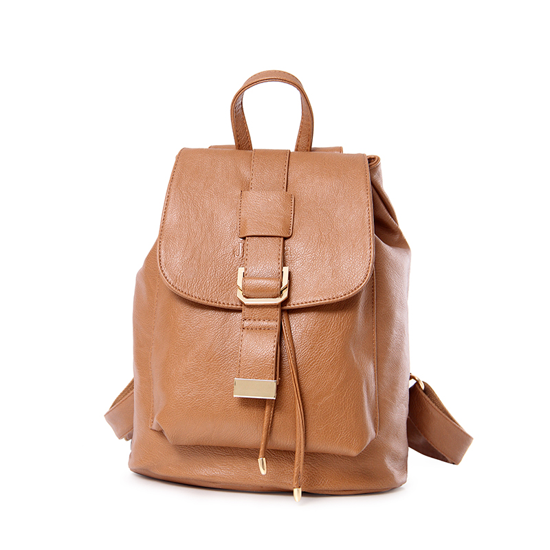 ФОТО 2017 New Women Backpack PU Leather Black Shoulder School Bags For Girl Drawstring Travel Backpack  STA811 Brown
