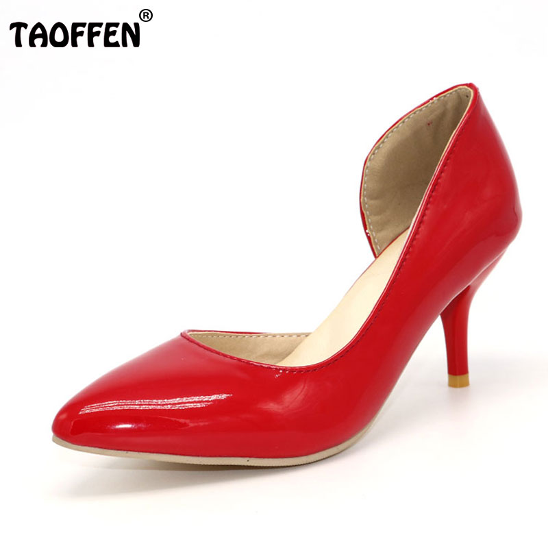 TAOFFEN women thin high heel shoes stiletto pointed toe quality female heeled pumps heels shoes plus big size 30-50 P16613-1 2017 new summer women flock party pumps high heeled shoes thin heel fashion pointed toe high quality mature low uppers yc268
