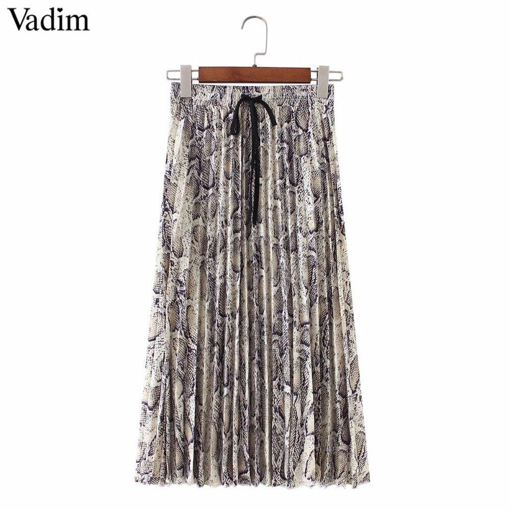 Vadim women stylish leopard print pleated skirt snake faldas mujer Drawstring tie elastic waist casual mid