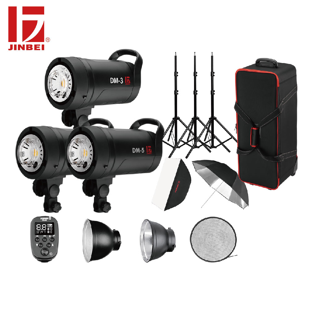 JINBEI 1300Ws Photography Studio Flash Kit Bowens Mount 3 Heads 300Ws*1pc & 500Ws*2pcs Universal Portrait Shooting Lightening
