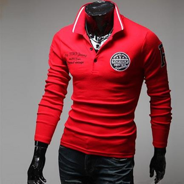 Europe New Brand Men's Solid Long Sleeve Polo Shirt Autumn Full Sleeve Warm Shirt The design fashion embroidery R arm Polo Shirt