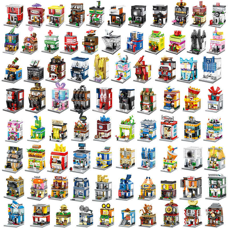 Building Block DIY Mini Street View Assemble City Mini Street Toy Shop Retail Store KFCE McDonald for kids Education Toy