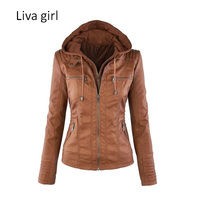 Liva Girl Hot Sale Women Fashion Casual Jackets Long Sleeve Solid Color PU Leather Jackets Plus