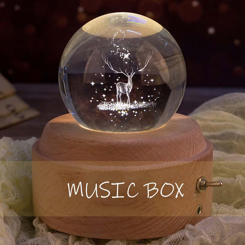 Moon Crystal Ball Music Box Wooden Luminous Music Box Hand Crank Rotary Mechanism Innovative For Birthday Gift