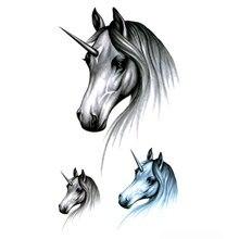 Tatuajes Temporales impermeables de unicornio, 100 Uds., bonito caballo tatuaje de pegatinas temporales, tatuaje de Henna para hombre