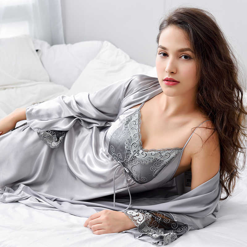 d37160d588 Xifenni Robe Sets Female Lace Embroidery Faux Silk Sleepwear Women Two-Piece  Sexy Satin SILK