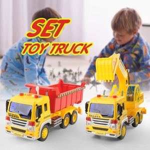 2pcs Literary Engineering vehicle Truck Toys Friction Powered Play with Music Dump Truck Classic Play Educational Toy For Kids