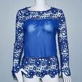 S-5XL Plus Size 2015 New O-neck Long Sleeve Lace Casual Blouse Blusas Crochet Chiffon Women Blouse Tops Blouses Blusas Femininas