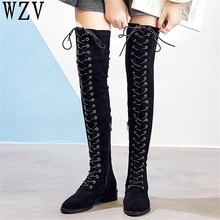 Big Size 43 New 2018 Women's boots Fashion Womens Knee High Boots Lace-Up suede Long Flats Boots Zapatos De Mujer Botas E422