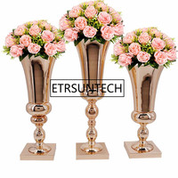 43cm 47cm 54cm Flowers Vases Table Centerpiece Vase Metal Gold Tabletop Road Lead Type Flower Holder for Home/Wedding Decoration