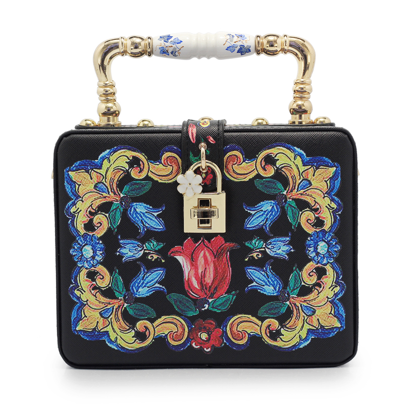 Women Evening Bags Designer Clutch Floral Print Handbags Luxury PU Leather Tote Box Women Famous Brand Crossbody Bag(C1363) famous brand luxury handbags 2017 designer women shoulder bags blue messenger bags small box bag clutch evening bag purse bolsos