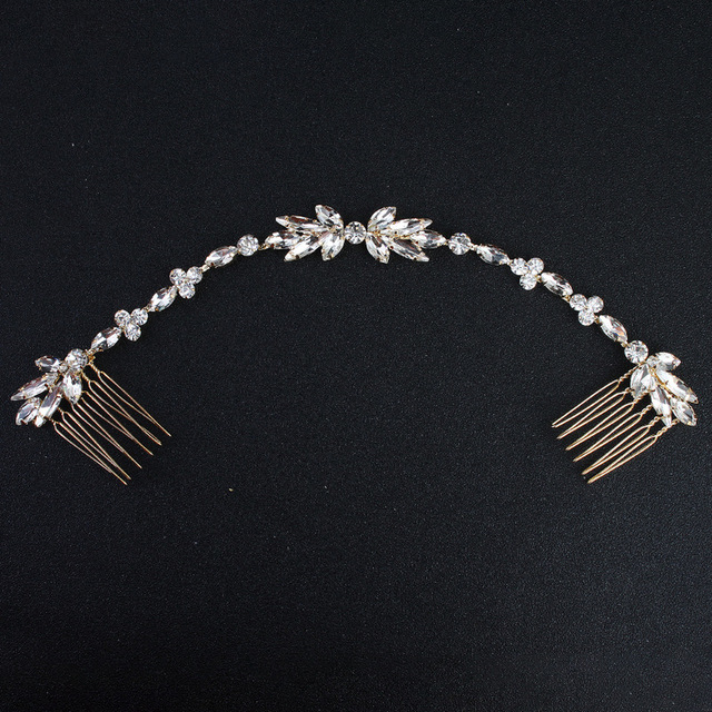 Wedding Scattered Rhinestone Headband Bridal Chain Bride Comb Bridesmaid Headpie
