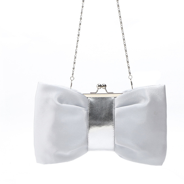 New Fashion Women Silk Evening Bags Party Bridal Wedding Purse Day Clutch Pu Leather Metal Chain Bow Bolsas Mujer Xa1630C