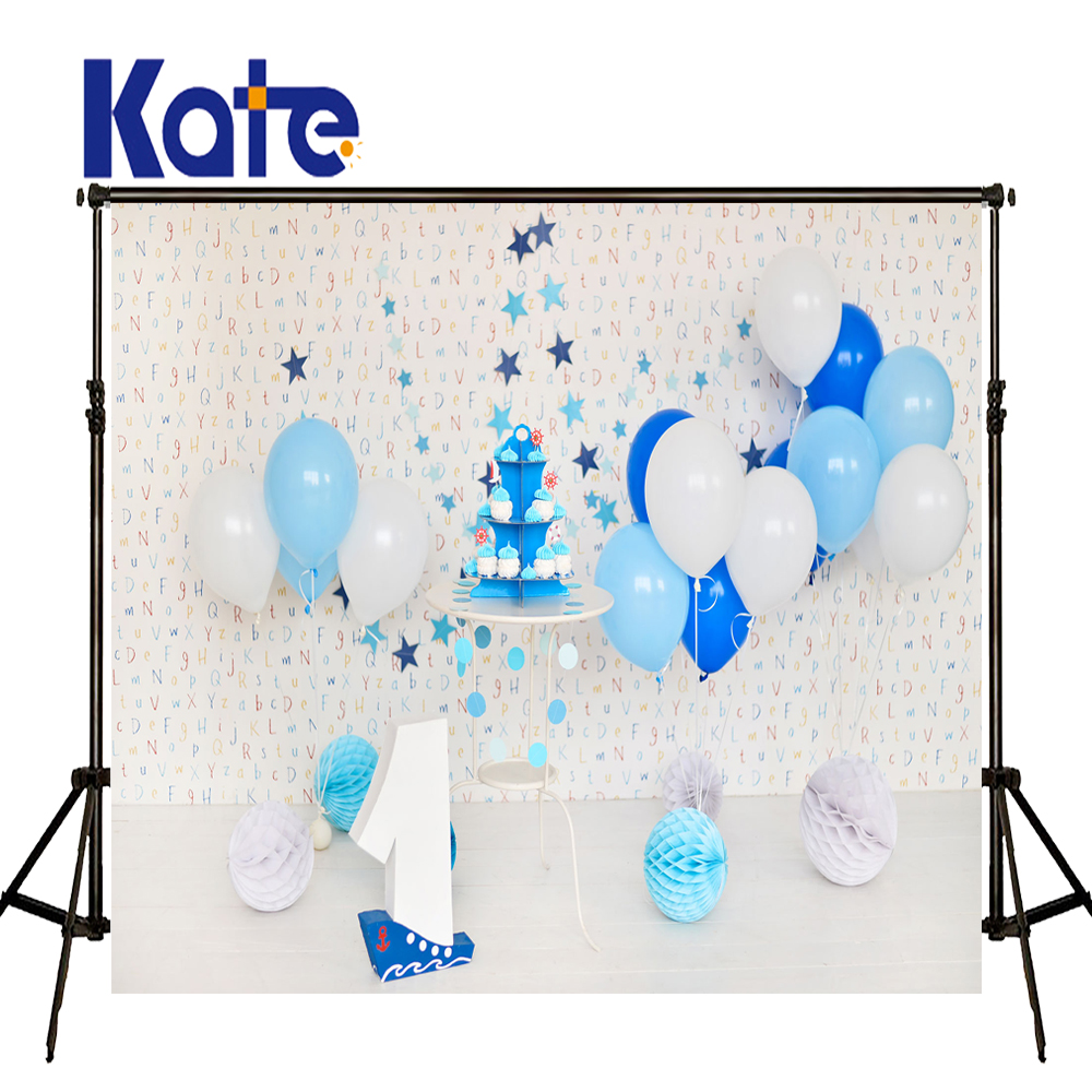 8X8ft Kate Blue Ballon Anniversaire cake photography backdrops wood letters for wall Backdrops