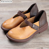 Whensinger 2018 Ballet Women Genuine Leather Shoes Woman Flat Soft Flexible Round Toe Nurse Casual Fashion Loafer Driving Shoes