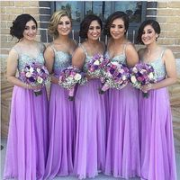 Lavender 2019 Cheap Bridesmaid Dresses Under 50 A line Spaghetti Straps Chiffon Sequins Sparkle Wedding Party Dresses