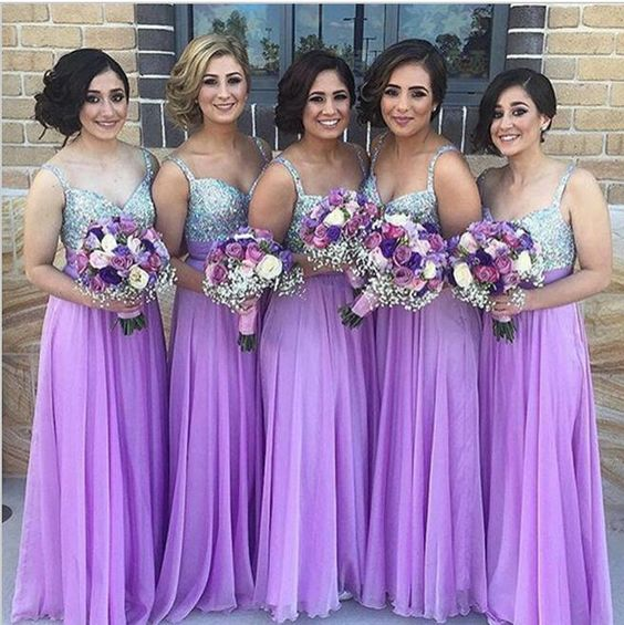 Lavender 2019 Cheap   Bridesmaid     Dresses   Under 50 A-line Spaghetti Straps Chiffon Sequins Sparkle Wedding Party   Dresses