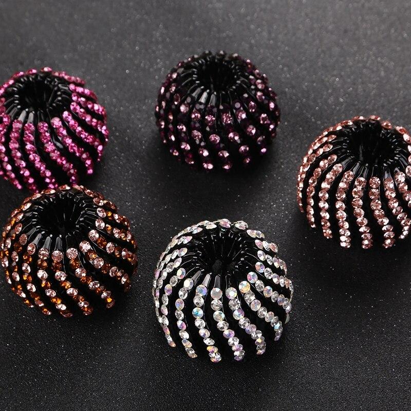 Top Grade Women Rhinestone Drop Point Hairclips OL Polytail Hairpins Headwear Barrettes Bead Hair Accessories Much Colors