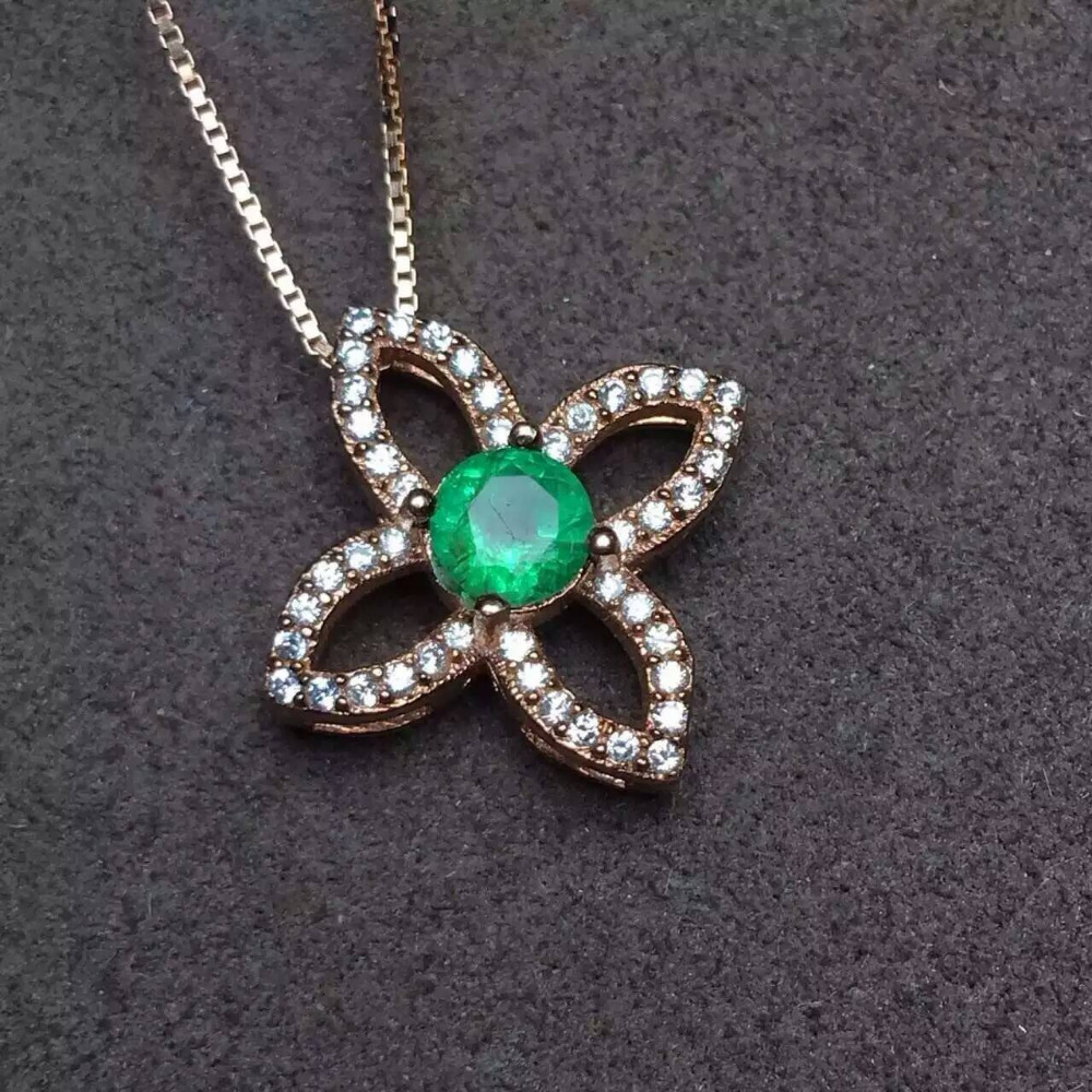 Natural green emerald pendant S925 silver Natural gemstone Pendant Necklace trendy Elegant stars women party fine jewelry