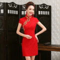 sexy modern Cheongsam mini qipao lace red bride qi pao chinese oriental dresses robe courte traditional chines dress QL
