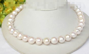 "18"" 10mm luster white freshwater pearls necklace 925 silver clasp Factory Wholesale price Women Gift word Jewelry"