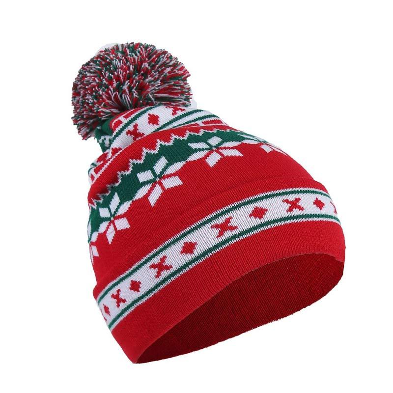 CAMP PATTERN KNIT CAP WINTER HAT POM BEANIE NEW ADULT UNISEX NAVY KHAKI RED