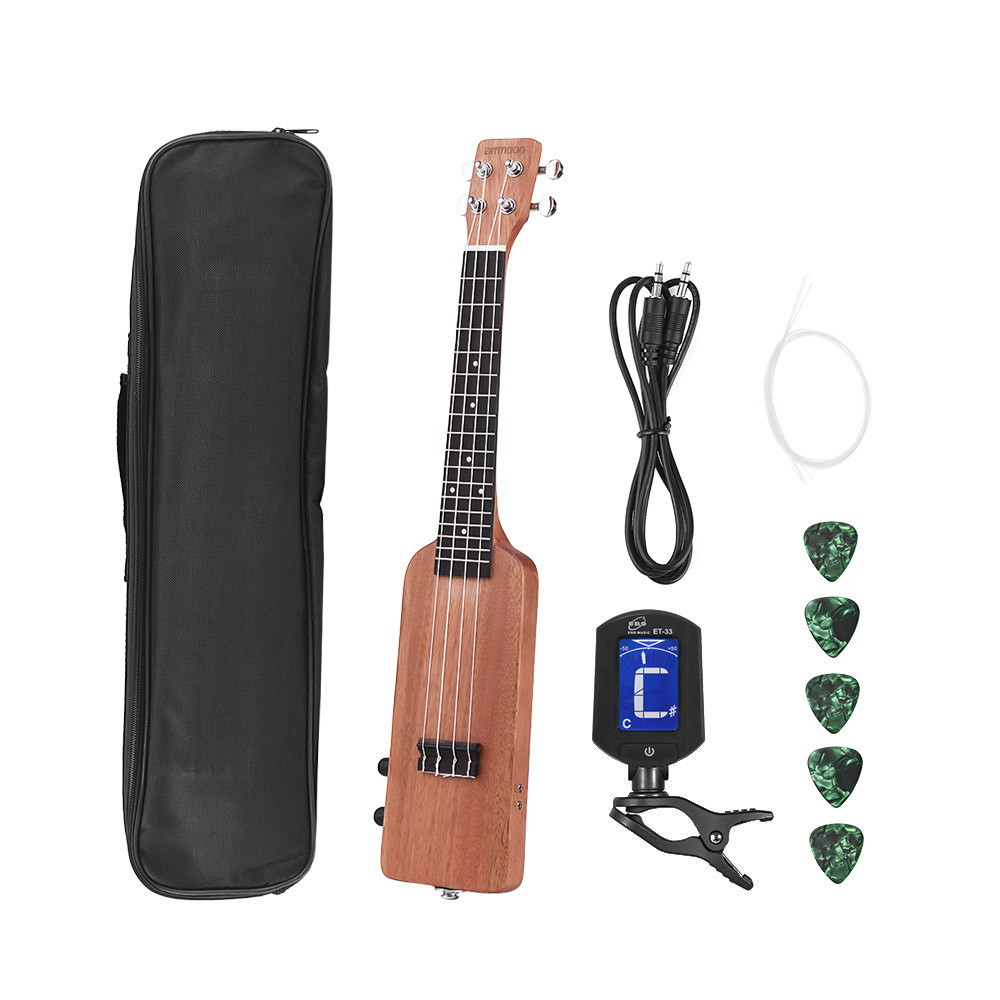 ammoon 23 Ukulele Kit Solid Wood Okoume Electric Ukulele Bottle Shape with Guitar Tuner Carrying Bag