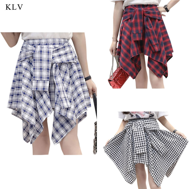 KLV Womens Girl Elastic Waist Plaid School Skater Mini Skirt Causal Knot Front Asymmetrical Checked Casual Hip-Hop