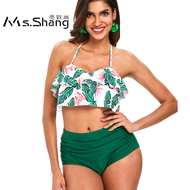 30a896a601f Ms.Shang High Waist Bikini Set Plus Size Swimwear 2018 Swimsuit Women  Halter Top Bikini Push Up Swimming Bathing Suit Women 3XL