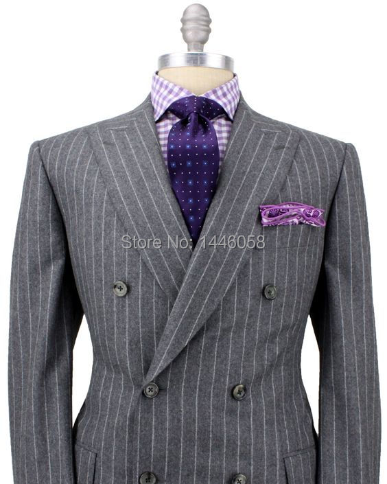 Men/'s Ivory Double Breasted Striped Suit Tuxedos Dinner Wedding Suit Custom