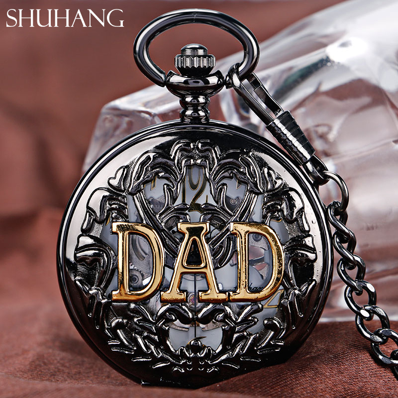 SHUHANG Best Dad's Gift Steampunk Mechanical Pocket Watches Chain Gift Skeleton Hand Winding Men Watch Golden DAD Father's Day shuhang rose cooper mechanical hand winding pocket watch octagon shape roman number skeleton clock pendant with chain best gift