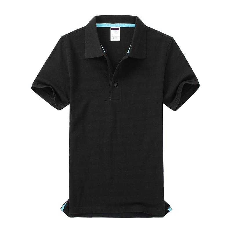 Черные, синие, белые, серые, желтые женские рубашки поло с коротким рукавом, женские повседневные рубашки поло, свободные женские рубашки больших размеров, хлопковые рабочие Топы - Цвет: Черный