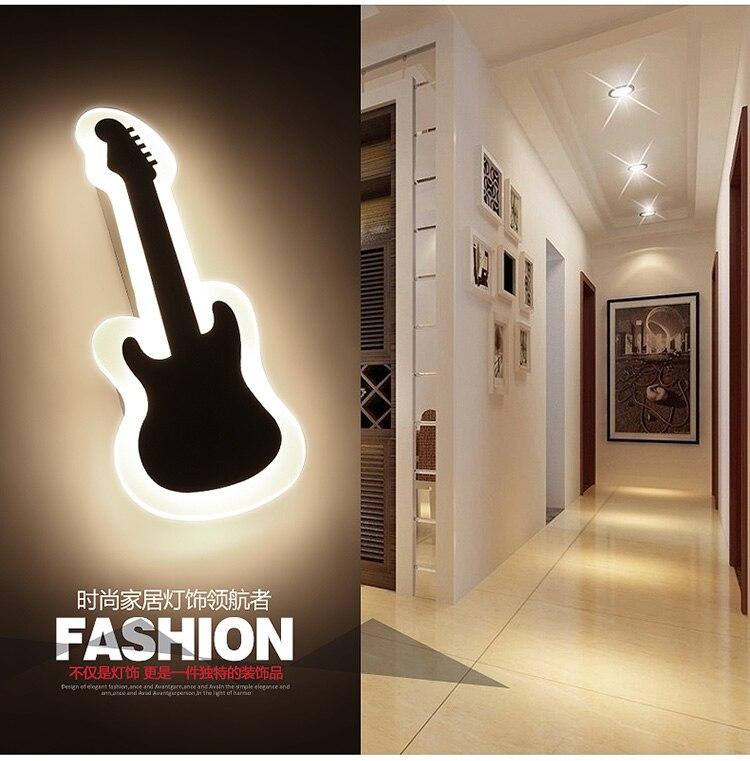 Length35cm Gitarre Form LED Wandleuchte Nachttischlampe Moderne Wohnzimmer Flur Treppe Pathway Beleuchtung